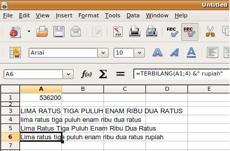 Terbilang pada OpenOffice